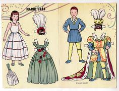 Vintage MARDI GRAS Paper Dolls page 1951 Janet Smalley/uncut/MASQUERADE COSTUMES #PaperDolls