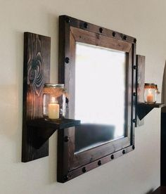 Rustic lighting mason jar candles 65 ideas for 2019 Large Framed Mirrors, Rustic Wall Sconces, Wood Framed Mirror, Rustic Walls, Rustic Wall Decor, Wall Mirror, Mason Jar Candle Holders, Mason Jar Sconce, Rustic Candle Holders