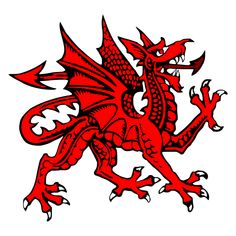 "The Welsh Dragon – Welsh: Y Ddraig Goch (""the red dragon"") – appears on the national flag of Wales. The oldest recorded use of the dragon to symbolise Wales is from the Historia Brittonum, written around 829 AD. Welsh Dragon, Celtic Dragon, Red Dragon, Celtic Art, Roi Arthur, King Arthur, Y Ddraig Goch, Witch School, Here Be Dragons"
