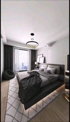 Modern Minimalist Bedroom, Modern Luxury Bedroom, Modern Bedroom Decor, Luxurious Bedrooms, Modern Room, Bedroom Design Minimalist, Long Bedroom Ideas, Small Modern Bedroom, Modern Hotel Room