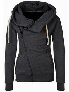 Stylish And Trendy Womens Hoodies - Fabulous Fashion Style//Hooded Oblique Zipper Loose Grey Sweatshirt