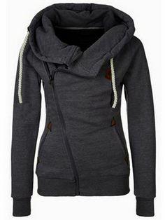 Hooded Oblique Zipper Loose Grey Sweatshirt 18.67