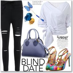 Street Style by jecakns on Polyvore featuring Gucci, StreetStyle, blouse, rippedpants, blinddate and zaful