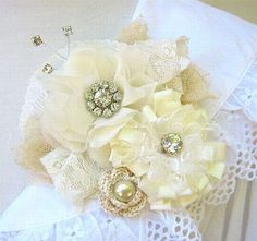 Ivory Fabric Flower Pin Brooch Corsage by PickleBerryTrifle