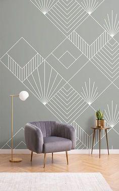 Art Deco Wallpaper, Home Wallpaper, Colour In Wallpaper, Interior Design Wallpaper, White Pattern Wallpaper, Wallpaper Designs For Walls, Chevron Wallpaper, Bedroom Wall Designs, Bedroom Decor