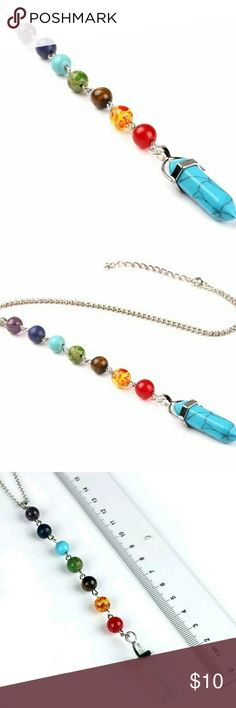 Turquoise Pendulum 7Chakra Necklace 7 Color Stones:8mm  Packaging Includes:  1 x Pendant necklace  Chain Length:45 cm + 5 cm (Extended chain)  ALL ORDERS SHIP NEXT BUSINESS DAY! Jewelry Necklaces