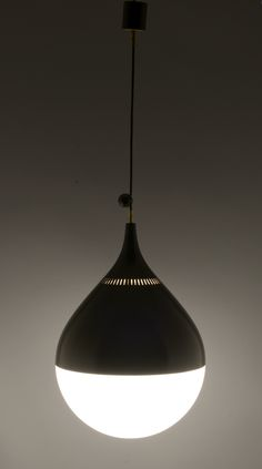Anonymous; Enameled Aluminum and Opaline Glass Ceiling Light by Stilnovo, c1955.