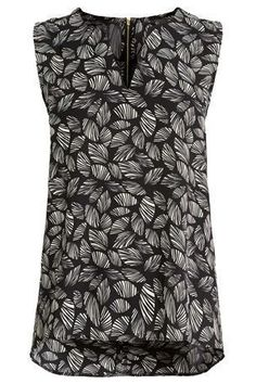 NEW Next Black White Leaf Print Woven Vest Summer Top Blouse 8 10 12 14 16 18