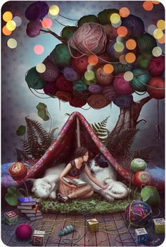 """Love this artistic expression for the love of yarncrafting (and cats of course!) """"Fairytale about a Yarn tree"""" by *kidy-kat"""