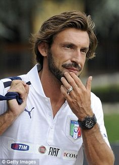 Andrea Pirlo of Italy arrives for a training session at Coverciano on September 2012 in Florence, Italy. Get premium, high resolution news photos at Getty Images Andrea Pirlo, Football Icon, Football Is Life, Messi, Football Hairstyles, Beard Boy, Corporate Fashion, Free Kick, European Football