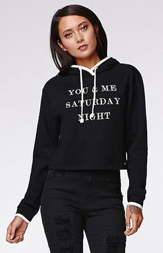 You Me Saturday Cropped Hoodie by Kendall & Kylie for PacSun and PacSun.com features a cropped cut and graphic on the front.