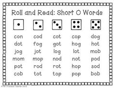 Roll and Read Short O Words Center Activity: includes 3 game boards (grades K-2) ~ The Vivacious Teacher