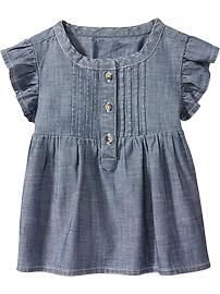 Chambray Flutter-Sleeve Pullovers for Baby