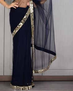 Beautiful Navy Blue saree with mirror work border. Indian Attire, Indian Ethnic Wear, Indian Dresses, Indian Outfits, Navy Blue Saree, Mirror Work Saree, Saree Gown, Lehenga Choli, Designer Party Wear Dresses