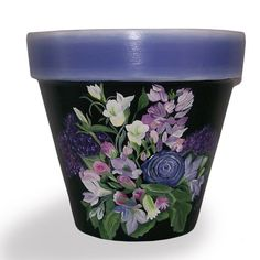 Hey, I found this really awesome Etsy listing at http://www.etsy.com/listing/151353937/blue-flowers-on-black-flower-pot-hand