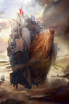 Breathtaking floating island ship (no other way to describe it). Illustration by Hong il An,http://cghub.com/images/view/194352/