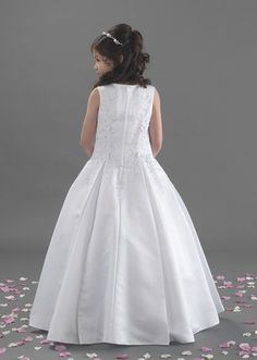 NEW 2017 Linzi Jay First Holy Communion Dress - Sam - Girls White Satin Pleated Holy Communion Dress with Beaded Flowers