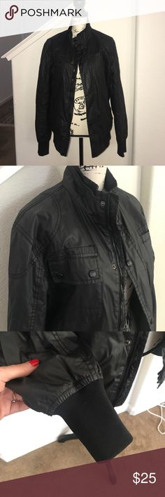 Zara Man black bomber jacket rain or wind proof M Mens leather look jacket in size medium by zara. Condition good, all zippers work. Its not leatherette or faux leather, its kind a synthetic leather or something Zara Jackets & Coats Bomber & Varsity