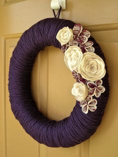 Love the deep purple and the hints of red with the cream flowers.