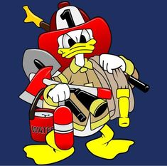 Donald Fauntleroy Duck Firefighter Firefighter Paramedic, Volunteer Firefighter, Firefighter Decals, Disney Cartoon Characters, Disney Cartoons, Disney Duck, Disney Art, Disney Drawings, Cartoon Drawings