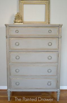 Before and After Thrift Store Chest in Grey and Gold