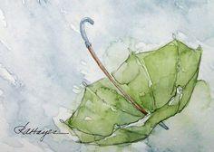 Green Umbrella in the Rain Watercolor Painting Original ACEO