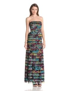 BCBGMAXAZRIA Womens Dharma Fitted Gown with Strapping, Dark Iris Combo, 8.  check discount today! click picture on top