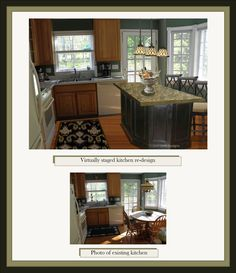 This kitchen redesign was done directly on a digital photograph using state-of-the-art design tools. Home Staging, Tool Design, Photograph, Tools, Living Room, Digital, Kitchen, Home Decor, Art