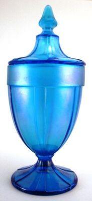Northwood Blue Stretch Glass 1 lb Candy Jar Urn Style Carnival | eBay