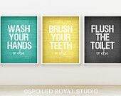 Or Else Bathroom Prints - 8x10 - Set of 3 - You Can Choose Color - Teal, Yellow, Grey - Funny Humor Posters