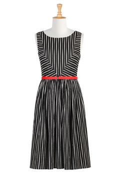 Polka dot cotton belted dress- | eShakti