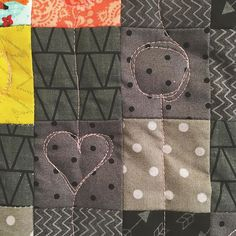 #postagestampheartminiquilt is quilted!  Because I don't know wtf I'm doing I do t have any rules!  I decided to try out something simple and cute. Hearts and dots are the kids jam at the moment there's  a theme in this one. Heh. Now on to binding. . #makestuff #freemotionquilting #heart #quilt #instacrafts #handmade #miniquilt
