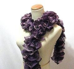 Purple Hand Knit Ruffled Scarf by ArlenesBoutique on Etsy, $30.00