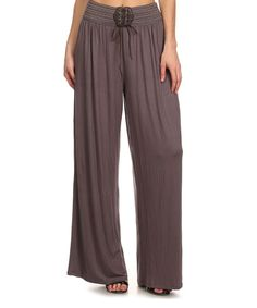 Look what I found on #zulily! 42POPS Mauve Lace-Up Palazzo Pants by 42POPS #zulilyfinds