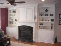 Fabulous Ideas Can Change Your Life: 100 Year Old Fireplace tv over fireplace height.Fireplace Kitchen Country tv over fireplace pictures.Fireplace And Tv Decor. Tv Over Fireplace, Fireplace Bookshelves, Decorating Bookshelves, Fireplace Hearth, Fireplace Surrounds, Bookcases, Fireplace Facade, Country Fireplace, Craftsman Fireplace