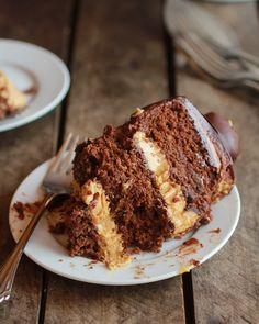 Ultimate Triple Layer Chocolate Bourbon Peanut Butter Buckeye Cake