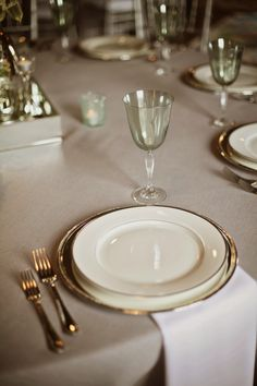 Green Water Goblet with Silver China and Flatware - Wedding Table Scape