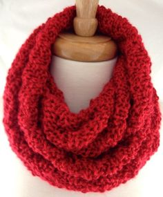 Rich Harvest Red Hand Knit Infinity Scarf Hood Wrap Cowl Neckwarmer
