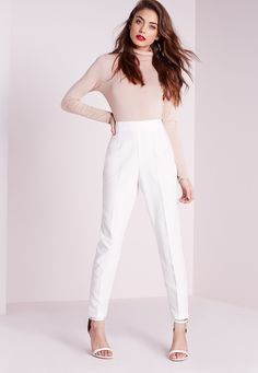 Missguided - High Waist Cigarette Trousers Ivory