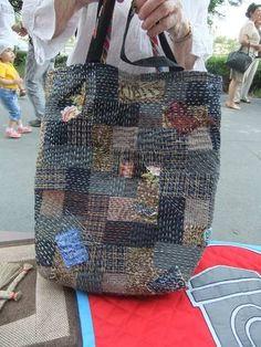 Sashiko embroidery over patchwork