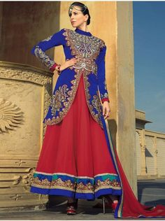 Royal Blue Velvet Anarkali Suit With Embroidery Work