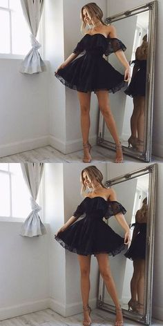 mini black party dresses, short little black dresses, cheap lace homecoming dresses, vestidos black dress Lace Homecoming Dresses, Hoco Dresses, Dance Dresses, Pretty Dresses, Beautiful Dresses, Dress Outfits, Evening Dresses, Fashion Dresses, Cute Outfits