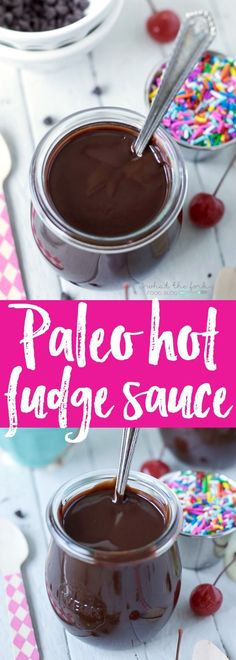 Paleo Hot Fudge Sauce - the perfect topping for any paleo or dairy free desserts! It's super smooth and full of chocolate flavor - it's so good you'll want to eat it straight with a spoon. | Recipe from @whattheforkblog | whattheforkfoodblog.com
