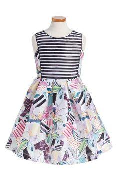 Pippa & Julie Stripe & Floral Shantung Party Dress (Big Girls)
