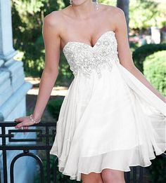White homecoming dress,sparkle homecoming dresses,beautiful homecoming gowns,short prom gown,sweet 1 on luulla Dresses Short, Sweet 16 Dresses, Beautiful Prom Dresses, Dance Dresses, Pretty Dresses, Formal Dresses, Wedding Dresses, Sexy Dresses, Wedding Robe
