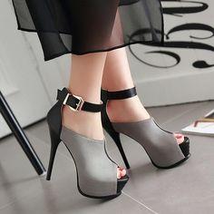Ankle Strap High Heels Peep Toe Platform Sandals Stilettos Women Pointed Toe Cut Out Med Heel Patchwork Ladies Shoes Ankle Strap High Heels, Platform High Heels, Sexy High Heels, Lace Up Heels, High Heel Boots, Pumps Heels, Heeled Boots, Stiletto Heels, Shoe Boots