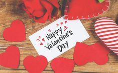 Download wallpapers With Valentines Day, red paper hearts, decoration, romance, congratulations