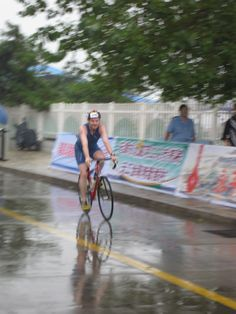 2009 BeiDahe Triathlon race in North China. On the bike during the rain. Cold!