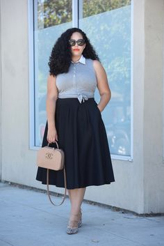 Tanesha Awasthi, also known as Girl With Curves, wearing a tie-waist crop top…