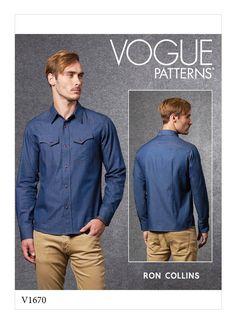 V1670 | Men's Shirt Sewing Pattern | Vogue Patterns Baby Buffalo, Vogue Sewing Patterns, Pattern Sewing, Candy Apple Red, Black Shadow, Thing 1, Summer Pants, Japanese Cotton, Light Jacket